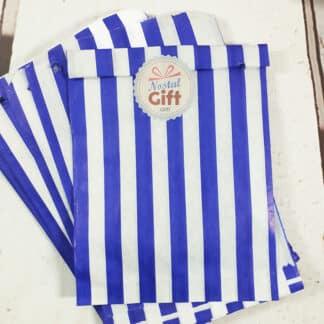 Sachet de bonbon rétro à rayures bleues et blanches x20