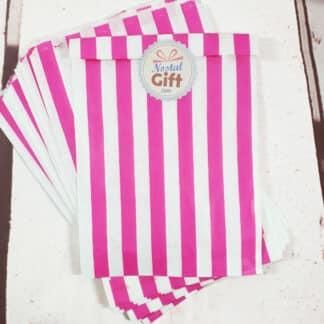 Sachet de bonbon rétro à rayures roses et blanches x20