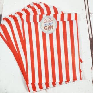 Sachet de bonbon rétro à rayures rouges et blanches x20