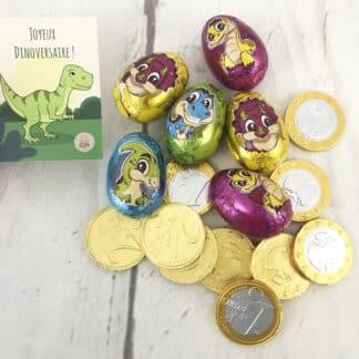 Sachet 10 pièces en chocolat et 6 œufs dinosaure- Joyeux dinoversaire