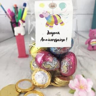 Sachet 10 pièces en chocolat et 6 œufs licorne - Joyeux anniversaire Piñata