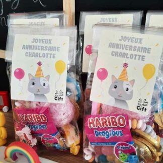 5 sachets de bonbons personnalisés - Anniversaire enfant - Chat
