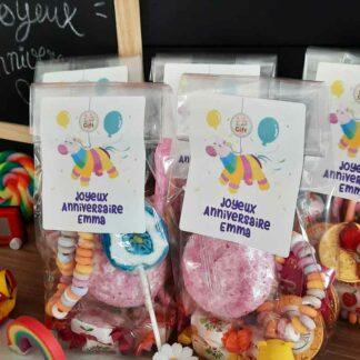 5 sachets de bonbons personnalisés - Anniversaire licorne pour enfant