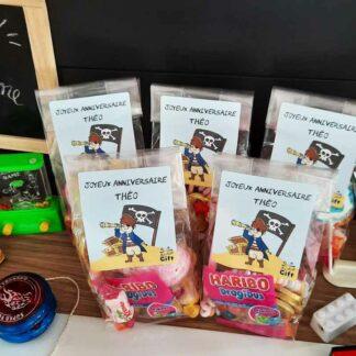 5 sachets de bonbons personnalisés - Joyeux anniversaire Pirate