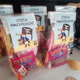 5 sachets de bonbons - Joyeux anniversaire Pirate