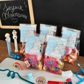 5 sachets de bonbons personnalisés - Joyeux anniversaire princesse des neiges