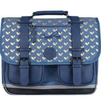 Cartable 35 cm bleu vintage fantaisie - Cameleon - Maternelle et CP