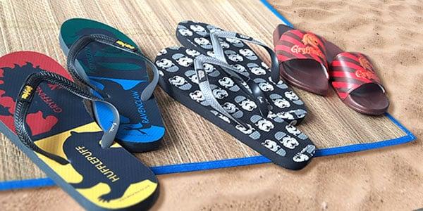 Le soleil va faire son entrée! Préparez vous à aller à la plage, à vous promener avec de superbes tongs sous licence, et ou avec un design unique. Pratiques et confortables vous ne pourrez pas passer votre été sans!