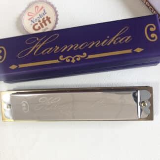 Harmonica en métal avec son boîtier