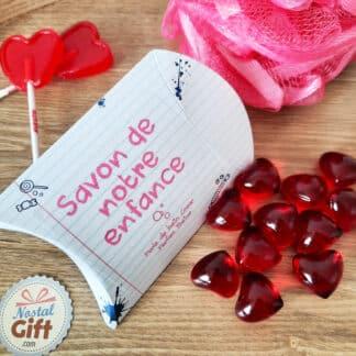 Savon de notre enfance - Perle de bain cœur senteur fraise x 12