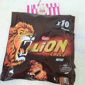 LION mini - Sachet barres chocolatées au caramel et céréales croustillantes x10
