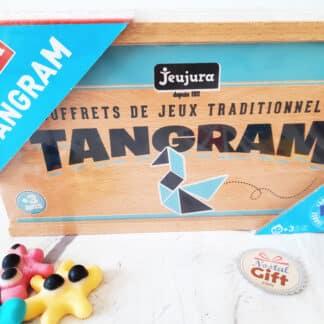 Jeu de Société - Tangram en bois - Coffret en bois Jeujura