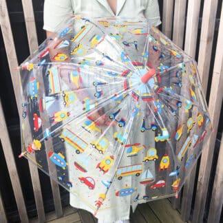 Parapluie transparent pour enfant motifs voitures