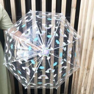 Parapluie transparent pour enfant motifs arc-en-ciel
