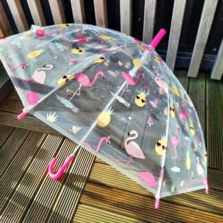 Parapluie transparent pour enfant motifs flamant rose
