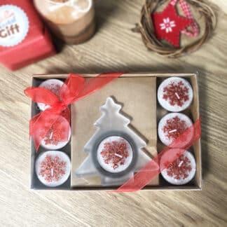 Coffret bougies Noël - 1 Bougeoir en forme de sapin et 7 bougies