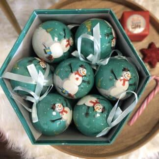 Boîte de 14 boules de Noël - Motif Père Noël