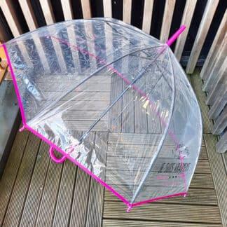 """Parapluie cloche humour - """"J'peux pas là je suis vraiment sous l'eau"""" - Rose & transparent"""