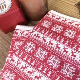 Lot de 20 Serviettes de table de Noël - Imprimé nordique