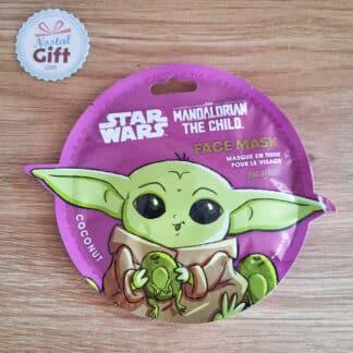Masque de beauté en tissu pour le visage - Bébé Yoda (The Mandalorian) - Noix de coco